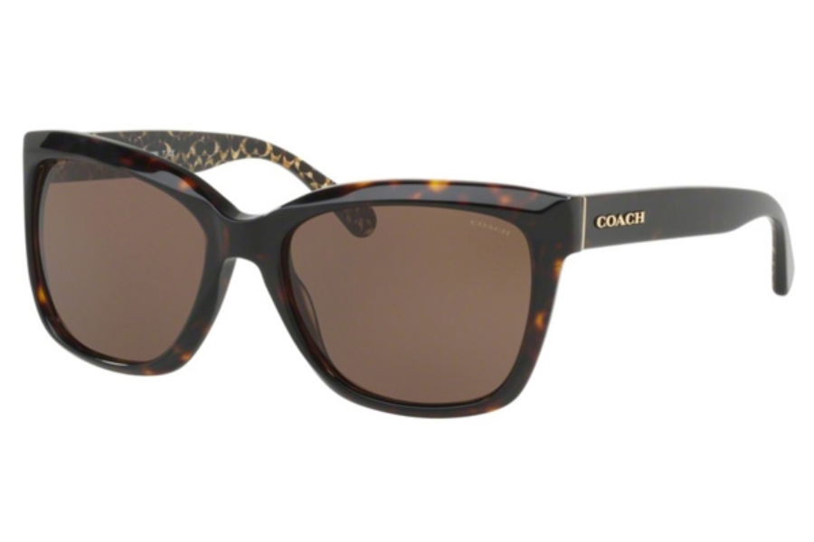 Coach HC8230 Sunglasses in 550773 Dark Tortoise / Dark Tort Gold Sig C