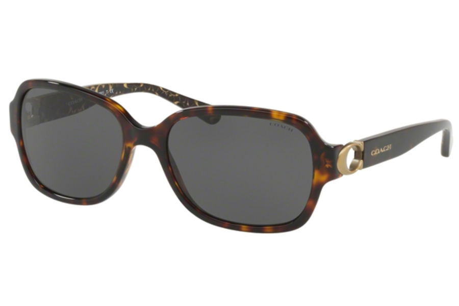 Coach HC8241F Sunglasses in 550787 Dark Tortoise/Dark Grey Solid
