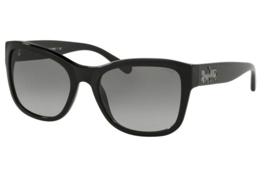 Coach HC8243 Sunglasses in 500211 Solid Black / Grey Gradient