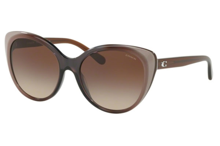 Coach HC8260 Sunglasses in 553413 Taupe Laminate / Smoke Gradient