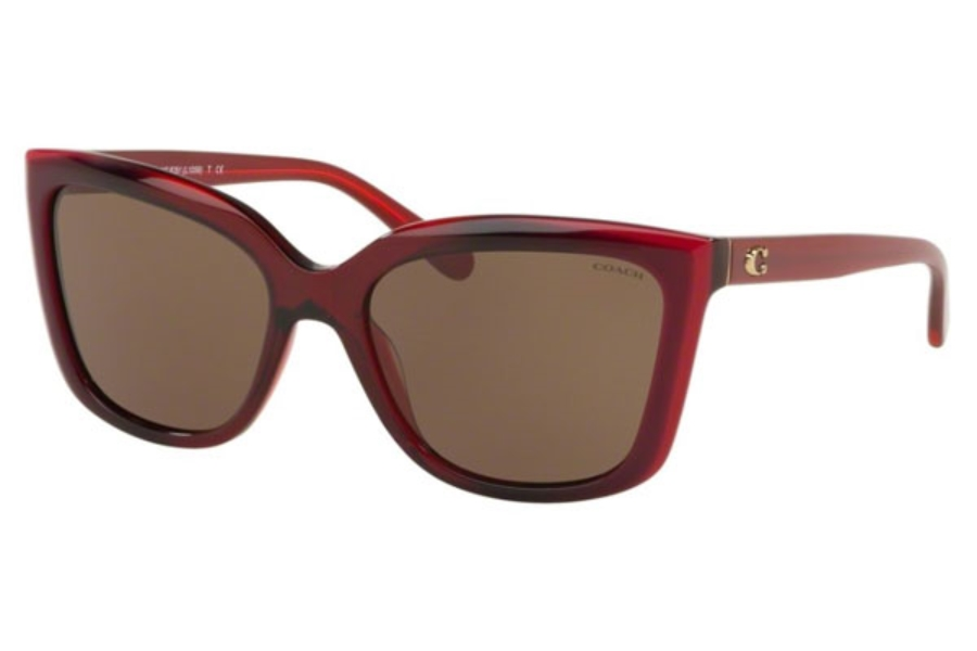 Coach HC8261 Sunglasses in 553273 Berry Laminate / Brown Solid
