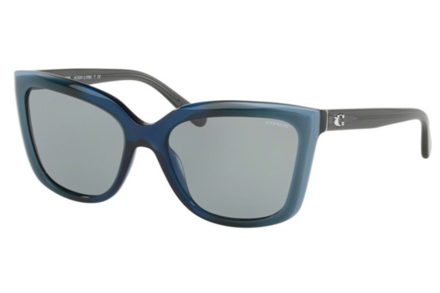 Coach HC8261 Sunglasses in 553387 Blue Laminate / Gray Solid