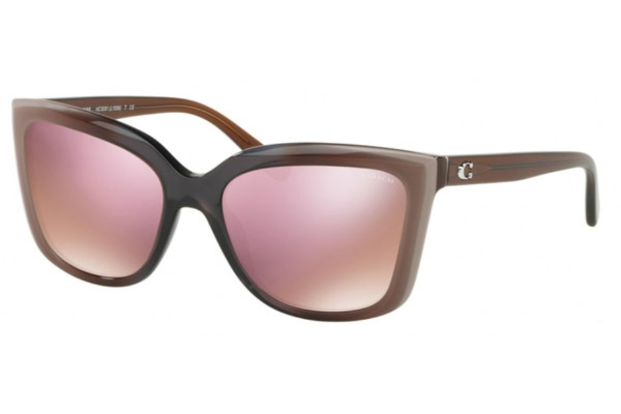 Coach HC8261 Sunglasses in 55345R Taupe Laminate / Pink Mirror