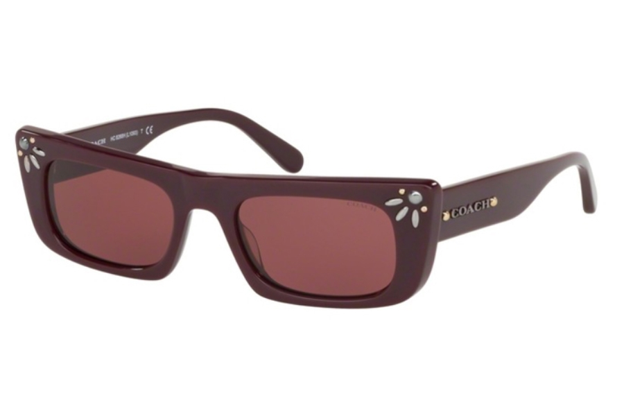 Coach HC8268H L1093 Sunglasses in 547975 Oxblood w/Dark Violet Solid