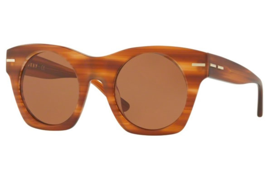 DKNY DY 4148 Sunglasses in 372873 Matte Brown Horn / Amber Solid