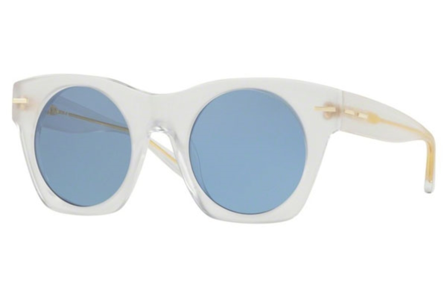 DKNY DY 4148 Sunglasses in 373972 Matte Crystal / Light Blue Solid