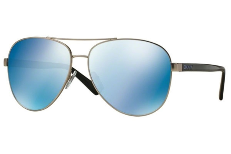 DKNY DY 5084 Sunglasses in 123655 Satin Silver/Black / Blue Mirror