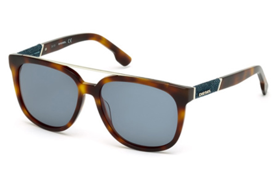 Diesel DL 0166/S Sunglasses in 53V - Blonde Havana / Blue