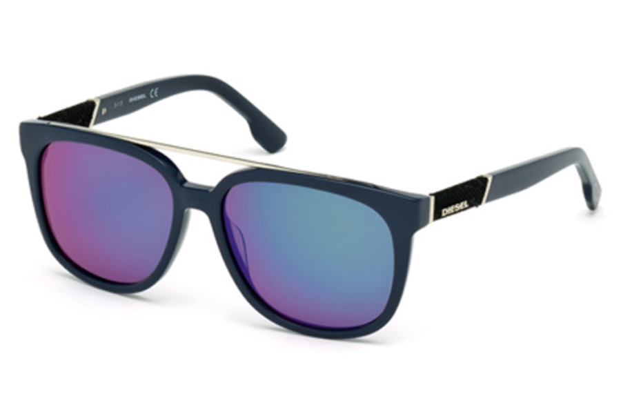 Diesel DL 0166/S Sunglasses in 90Q - Shiny Blue / Green Mirror