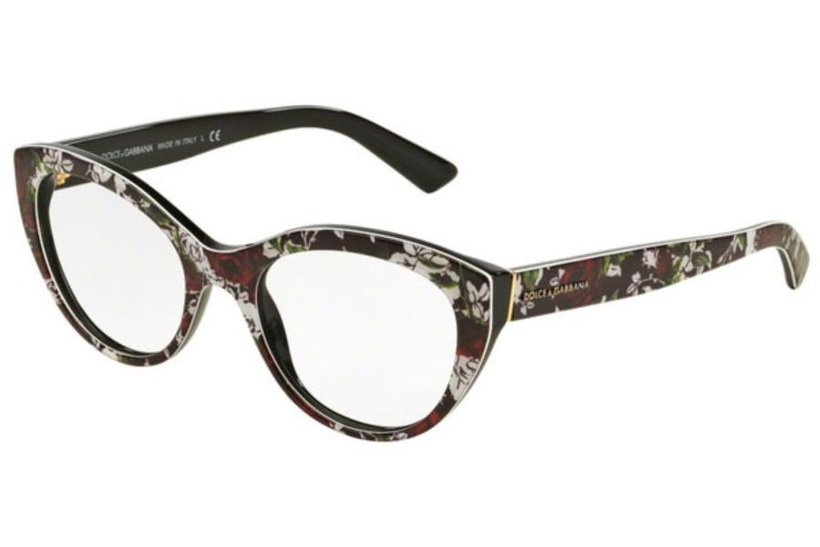 a43e911fb7987 ... Dolce   Gabbana DG 3246 Eyeglasses in 3019 Top Rose Print Black ...