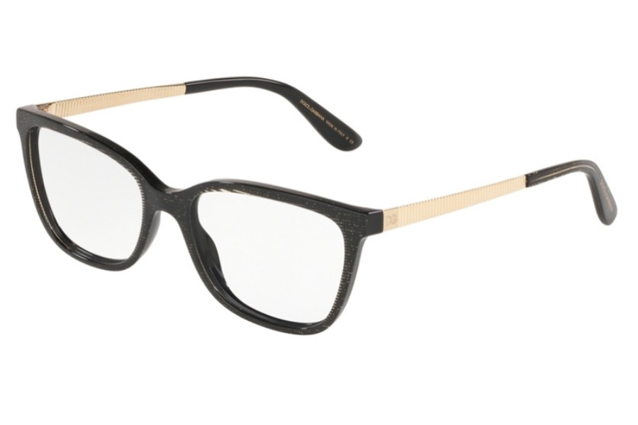 Dolce & Gabbana DG 3317F Eyeglasses in 3218 Glitter Gold Striped Black