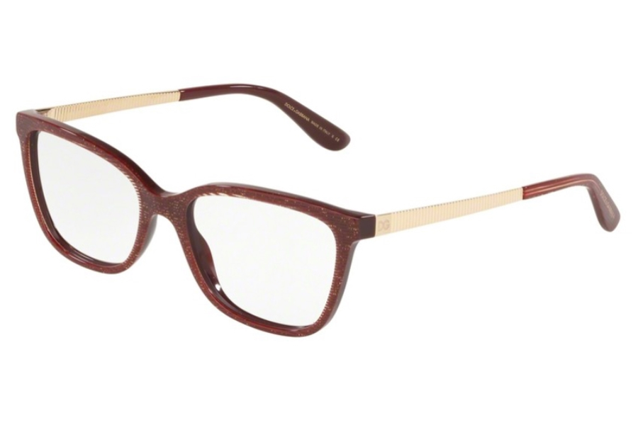 Dolce & Gabbana DG 3317F Eyeglasses in 3219 Glitter Gold Striped Bordeaux