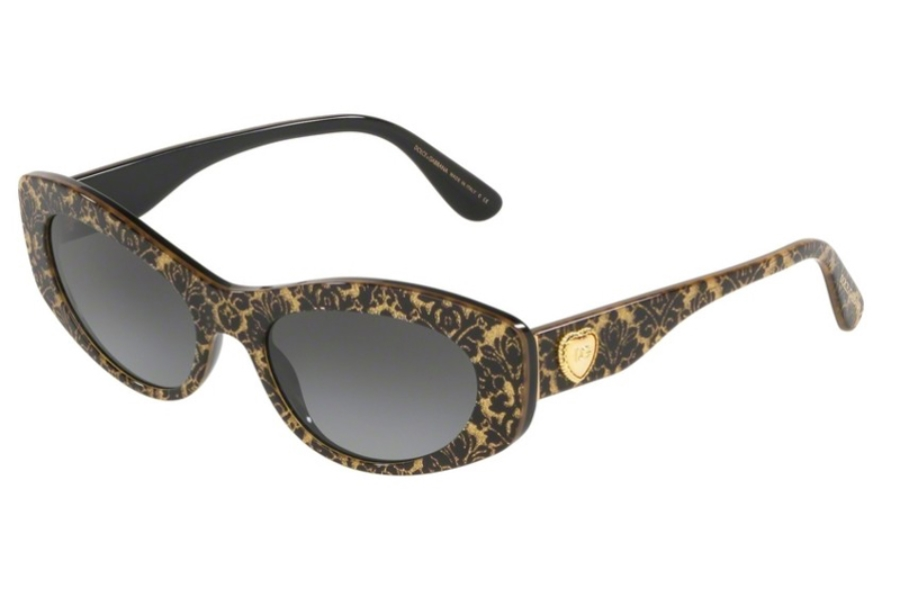 Dolce & Gabbana DG 4360F Sunglasses in 32148G Damasco Glitter Black On Black w/Grey Gradient