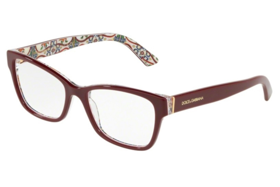 6cd74c70e91 ... Dolce   Gabbana DG 3274 Eyeglasses in 3179 Bordeaux On New Maiolica ...