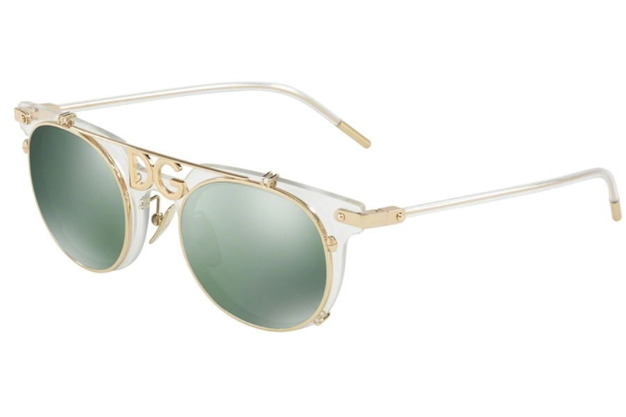 32750ef544cb Dolce & Gabbana DG 2196 Sunglasses in 488/6R Clear/Light Green Mirror  Petrol ...