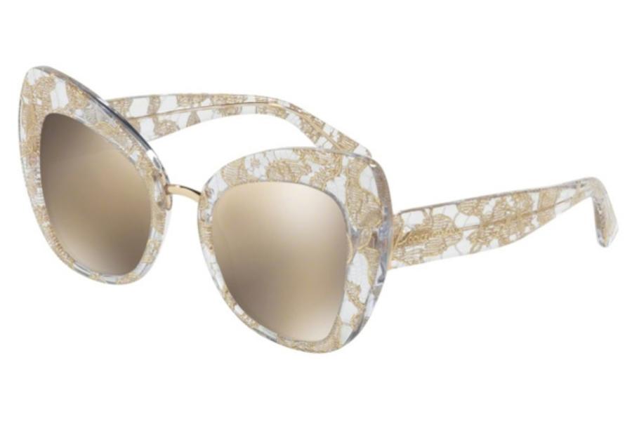 a5490ea406c6 Dolce   Gabbana DG 4319 Sunglasses in 31535A Gold Lace   Light Brown Mirror  ...
