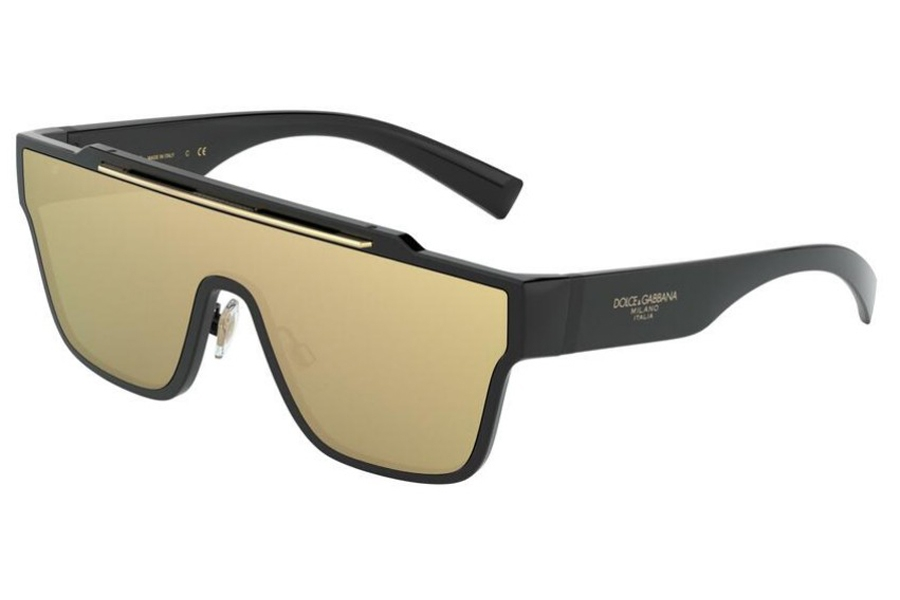 Dolce & Gabbana DG 6125 Sunglasses in 501/03 Black / Clear Mirror Real Yellow Gold