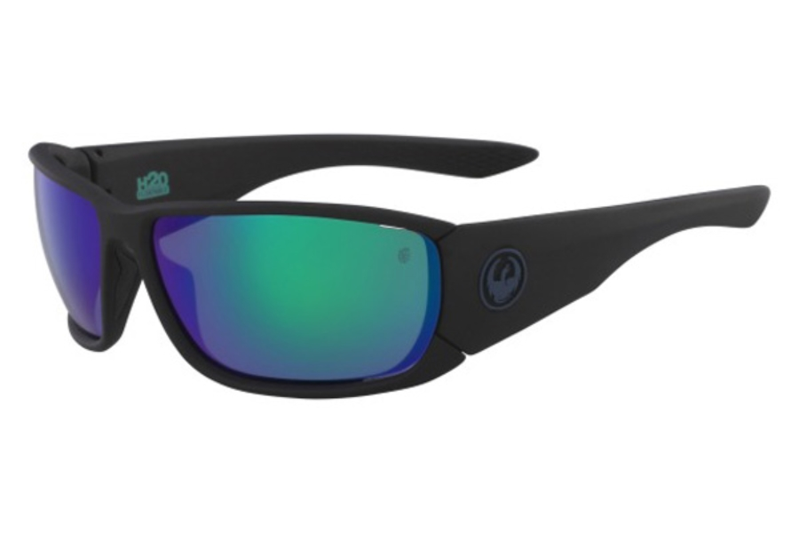 Dragon DR TOW IN H2O Sunglasses in 008 Matte Black/Green Ion