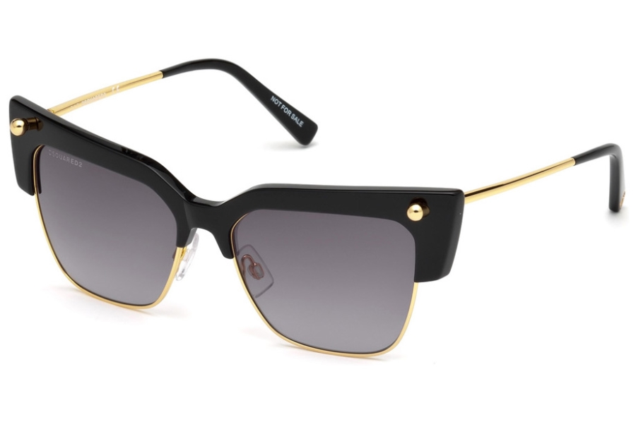 Dsquared DQ0279 Federica Sunglasses in 01B - Shiny Black / Gradient Smoke Lenses