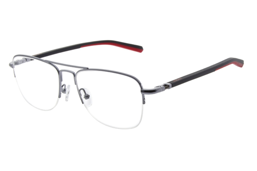 Ducati DA 3003 Eyeglasses in 902 Dark Gunmetal with Red/Black temple