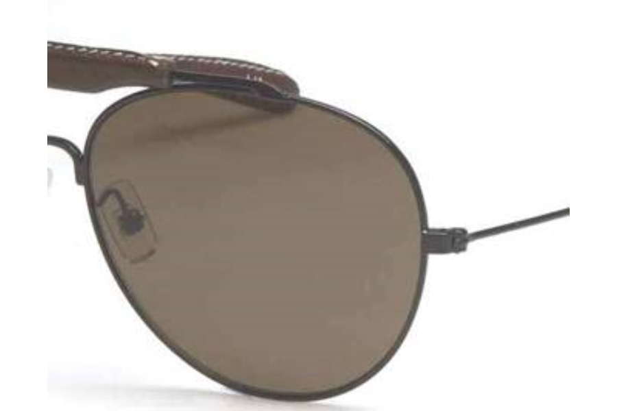 Dunhill DU 531S Sunglasses in (04) Shiny Black/Brown Leather Bridge w/Coffee Lenses