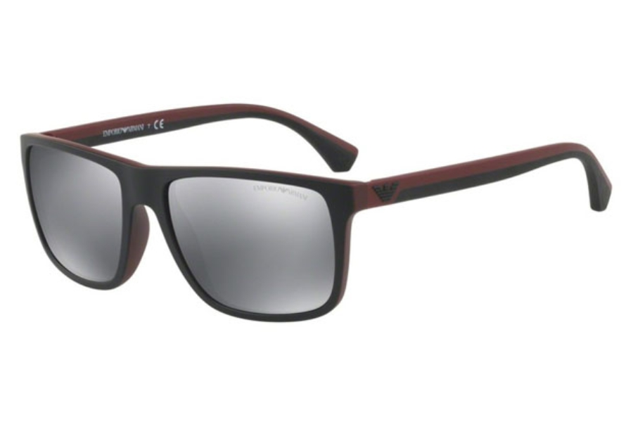 aac4a1372cd ... Emporio Armani EA4033 Sunglasses in 56146G Top Black On Bordeaux Rubber    Light Grey Mirror Black ...
