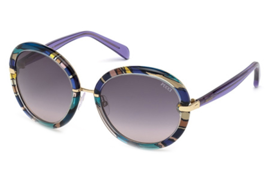 Emilio Pucci EP0012 Sunglasses in 92B Blue/Other/Gradient Smoke