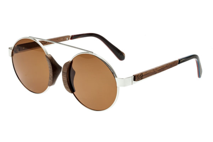 Earth Talisay Sunglasses in 015B Silver & Black Walnut / Brown