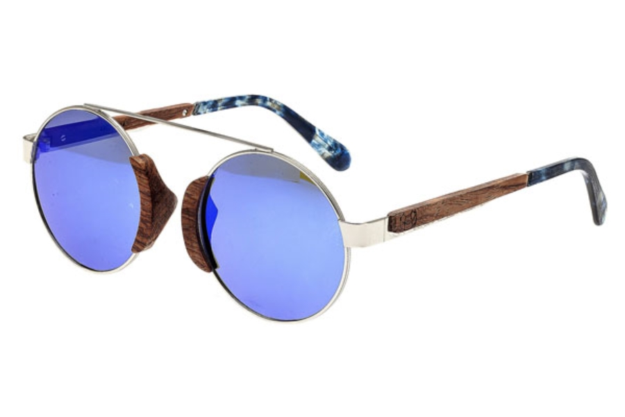 Earth Talisay Sunglasses in 015R Silver & Rosewood / Purple-Blue