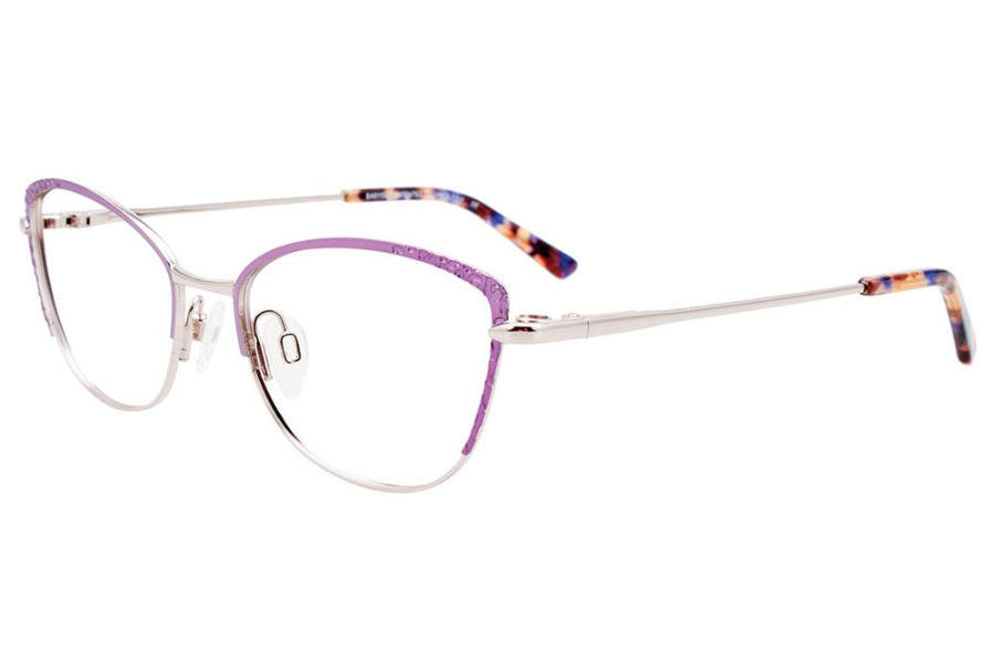 Easyclip EC527 w/ Magnetic Clip-On Eyeglasses in 030 - Satin Light Purple & Shiny Silver