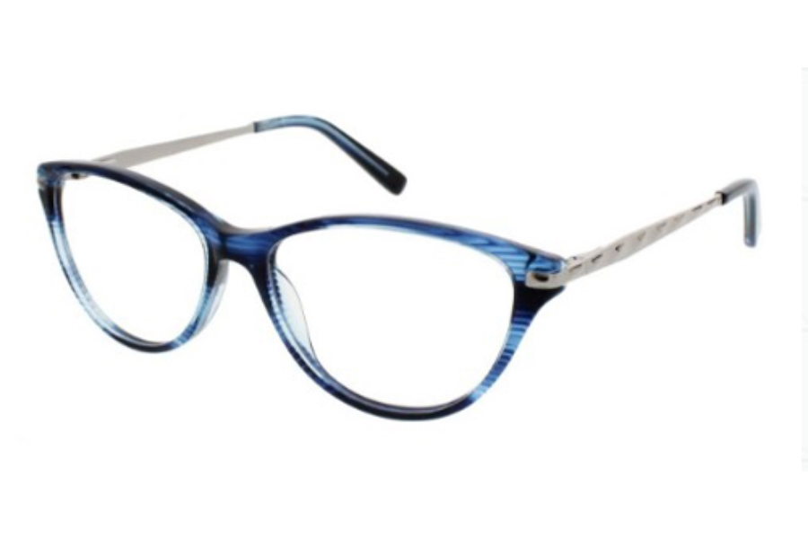Ellen Tracy Sochi Eyeglasses in Blue Horn