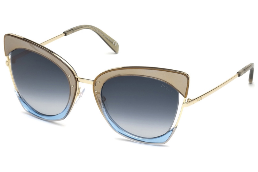 Emilio Pucci EP0074 Sunglasses in 33W - Transp. Glitter Gold & Blue Front, Pale Gold/ Grad. Blue Lenses