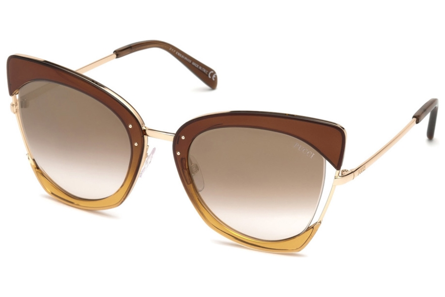 Emilio Pucci EP0074 Sunglasses in 50G - Transp. Brown & Champagne, Rose Gold/ Grad. Brown Lenses W. Gold Flash
