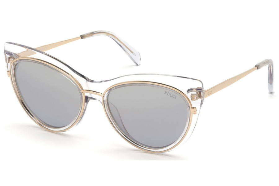 Emilio Pucci EP0108 Sunglasses in 27X - Shiny Crystal, Rose Gold Metal/ Grad. Blue-To-Light Smoke Flash Lenses