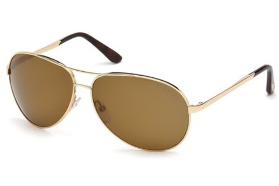 Tom Ford FT0035 Charles Sunglasses in 28G Shiny Rose Gold/Brown Mirror (Discontinued)
