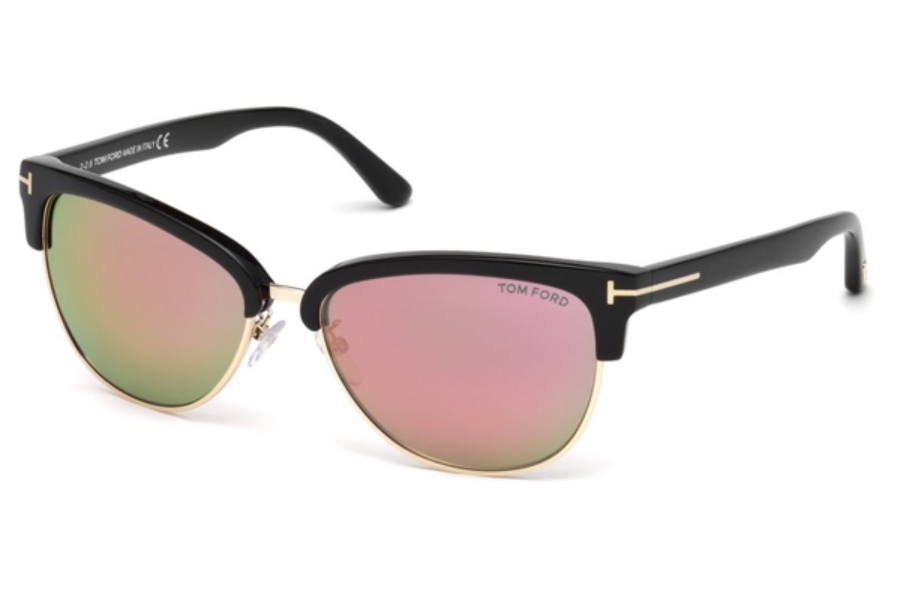 Tom Ford FT0368 Fany Sunglasses in 01Z - Shiny Black / Gradient Or Mirror Violet