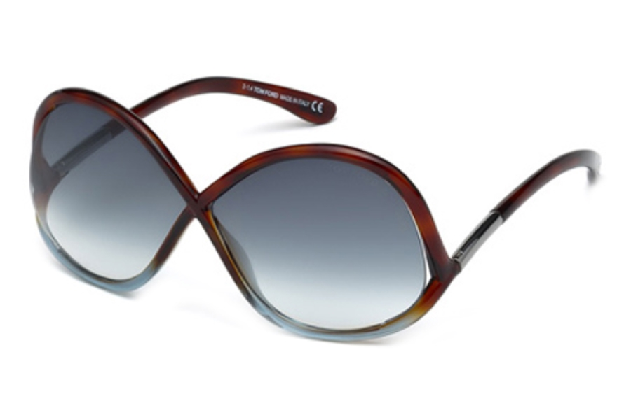 Tom Ford FT0372 Sunglasses in 53W Blonde Havana/Gradient Blue