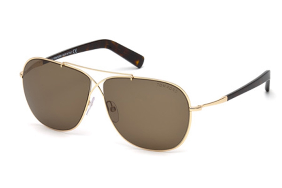 Tom Ford FT0393 April Sunglasses in 28J - Shiny Rose Gold / Roviex