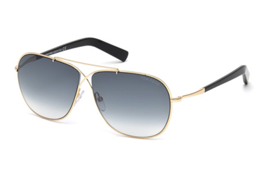 Tom Ford FT0393 April Sunglasses in 28P - Shiny Rose Gold / Gradient Green
