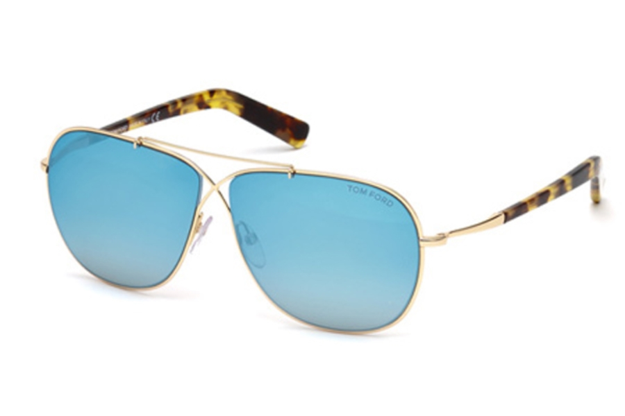 Tom Ford FT0393 April Sunglasses in 28X - Shiny Rose Gold / Blu Mirror