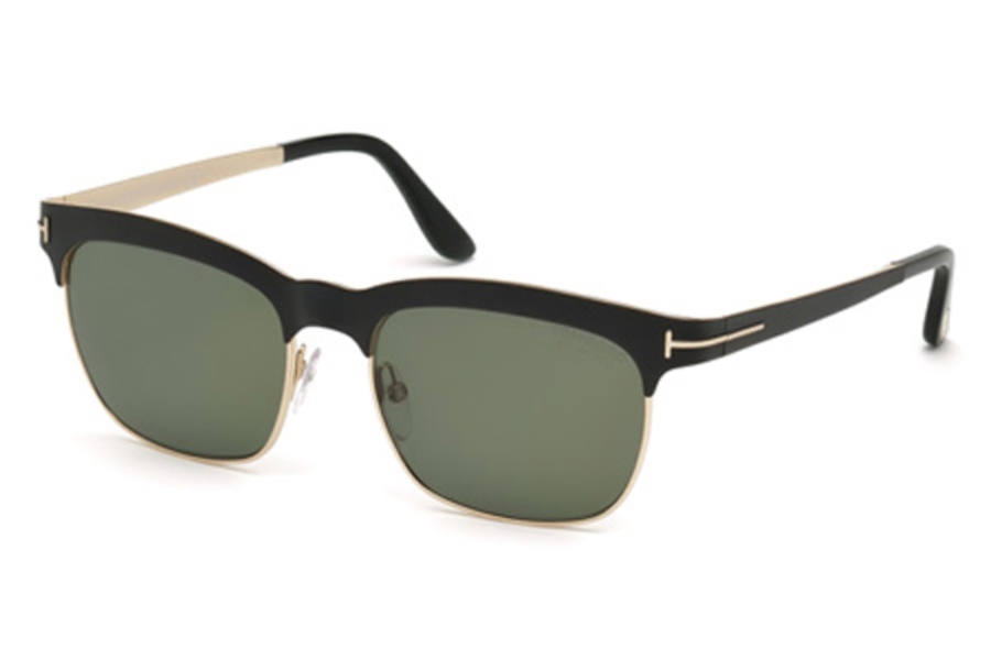 Tom Ford FT0437 Elena Sunglasses in 05R - Black/Other / Green Polarized