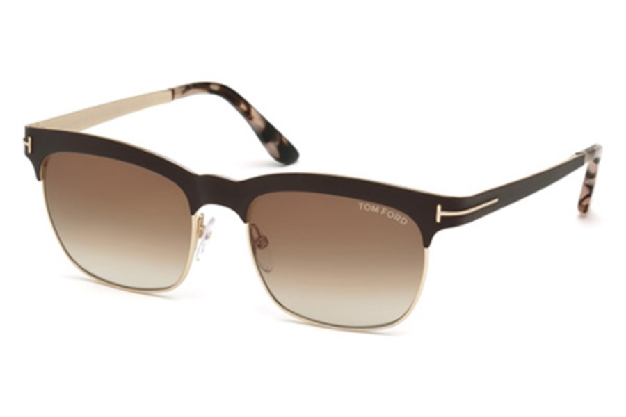 Tom Ford FT0437 Elena Sunglasses in 48F - Shiny Dark Brown / Gradient Brown