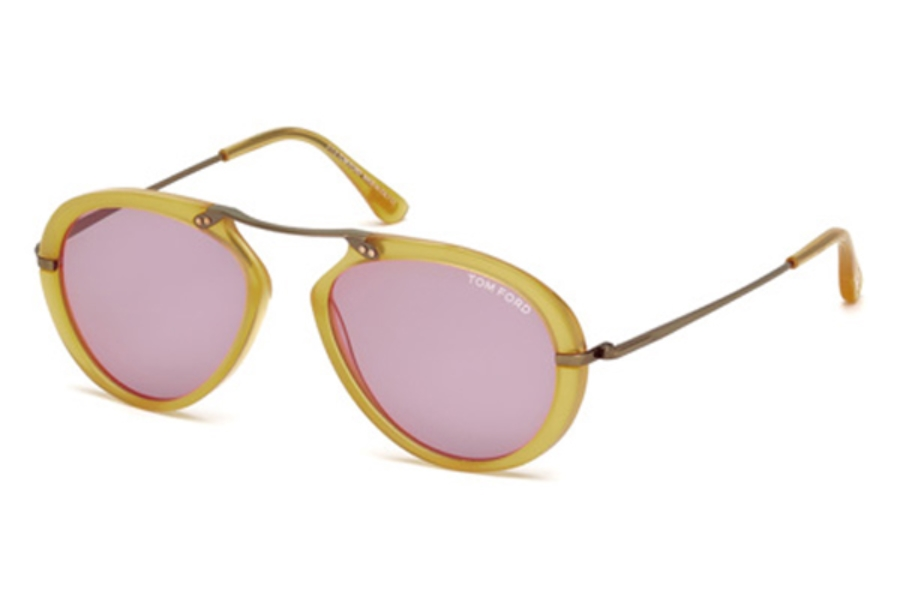 Tom Ford FT0473 Aaron Sunglasses in 39Y - Shiny Yellow / Violet