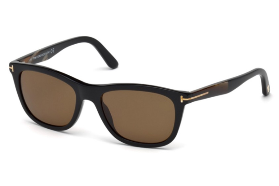 Tom Ford FT0500 Andrew Sunglasses in 01H - Shiny Black / Brown Polarized