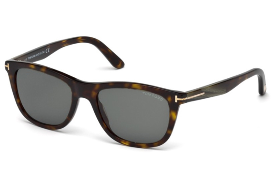 Tom Ford FT0500 Andrew Sunglasses in 52N - Dark Havana / Green
