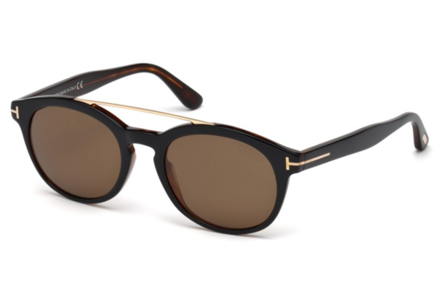 Tom Ford FT0515 Newman Sunglasses in 05H - Black/Other / Brown Polarized