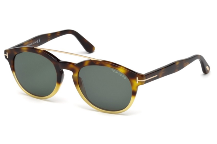 Tom Ford FT0515 Newman Sunglasses in 56N - Havana/Other / Green