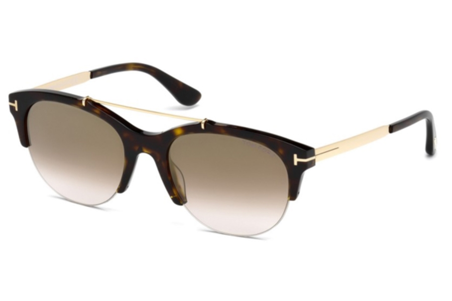 Tom Ford FT0517 Adrenne Sunglasses in 52G - Dark Havana / Brown Mirror