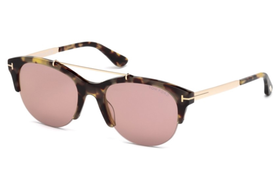 Tom Ford FT0517 Adrenne Sunglasses in 56Z - Havana/Other / Gradient Or Mirror Violet