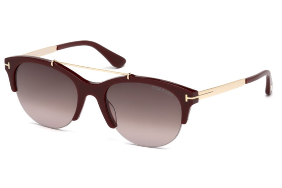 Tom Ford FT0517 Adrenne Sunglasses in 69T - Shiny Bordeaux / Gradient Bordeaux